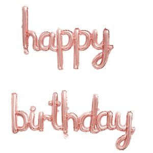 Happy Birthday Script Phrase Air Fill Rose Gold Foil Balloons