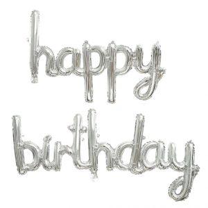 Happy Birthday Script Phrase Air Fill Silver Foil Balloons